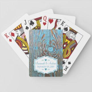 Romantische Scheunen-hölzerne Vintage Hochzeit Spielkarten