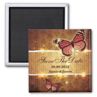 romantische Schmetterlings-Hochzeit im Herbst Save Quadratischer Magnet