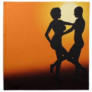 Romantische Sonnenuntergang-Tanzen-Paare Serviette