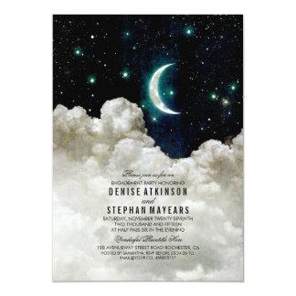 Romantische Sterne und Mond-Verlobungs-Party 12,7 X 17,8 Cm Einladungskarte