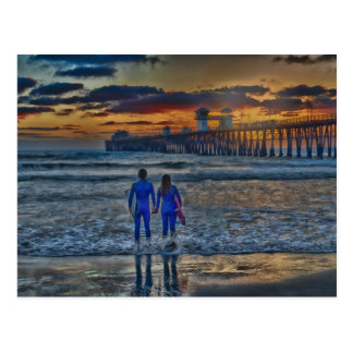 Romantische Surfer Postkarte