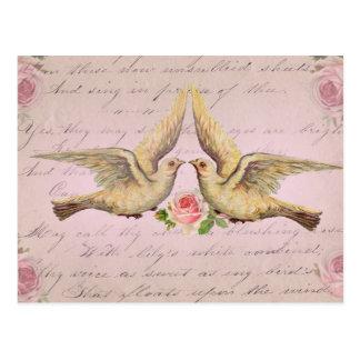 Romantische Tauben in der Liebe-Vintagen Collage Postkarte