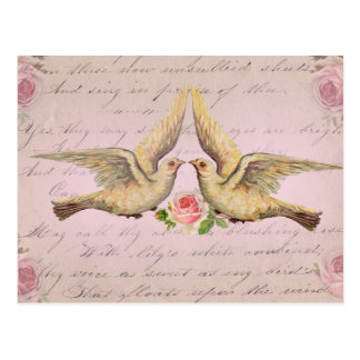 Romantische Tauben in der Liebe-Vintagen Collage Postkarten