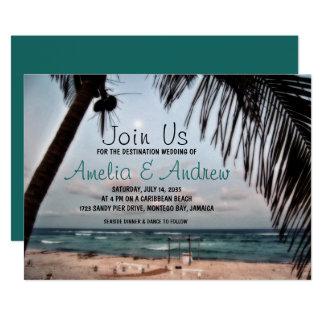 Romantische tropische Strand-Foto-Hochzeit in 12,7 X 17,8 Cm Einladungskarte