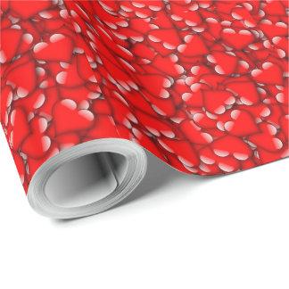 Romantische Valentine-Liebe-Herzen rot Geschenkpapier