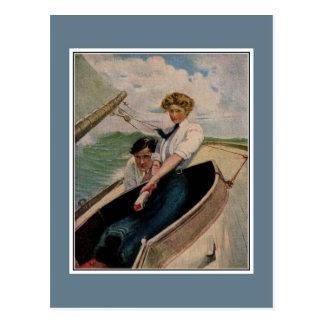 Romantische Vintage Paare, segelnd Postkarten