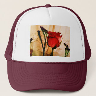 Romantische Vintage Rote Rose Truckerkappe