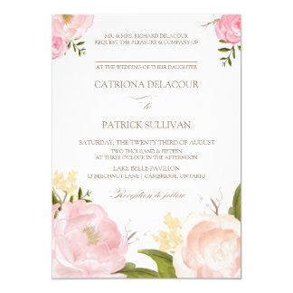 Romantische Watercolor-Blumen, die Einladung III