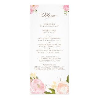Romantische Watercolor-Blumen, die Menü-Karte 10,2 X 23,5 Cm Einladungskarte