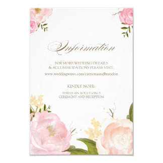 Romantische Watercolor-Blumen-Informations-Karte 8,9 X 12,7 Cm Einladungskarte