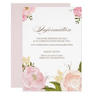 Romantische Watercolor-Blumen-Informations-Karte Karte