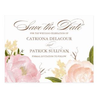 Romantische Watercolor-Blumen-Save the Date Postkarte