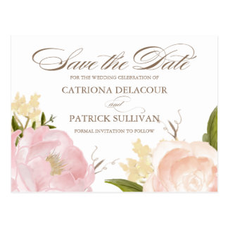 Romantische Watercolor-Blumen-Save the Date Postkarten