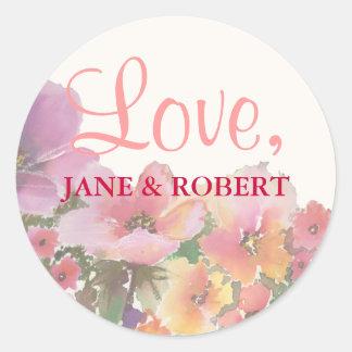 Romantische Watercolor-Hochzeits-Blumen Runder Aufkleber