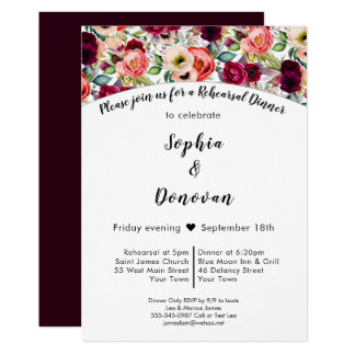 Romantic Garden Floral Rehearsal Dinner Invitation