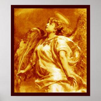 ROMANTISCHER ENGEL MIT FEDER IM GOLDgelb-WEISS Poster