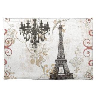 Romantischer Fall-Herbst verlässt Turm Paris Tischset