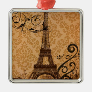 Romantischer Fall-Herbstdamast Paris-Eiffelturm Silbernes Ornament