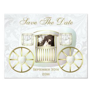 Romantischer Foto-Hochzeits-Wagen Save the Date 10,8 X 14 Cm Einladungskarte
