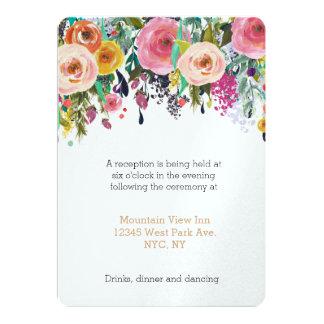 Romantischer Garten-Blumenhochzeits-Empfang 12,7 X 17,8 Cm Einladungskarte
