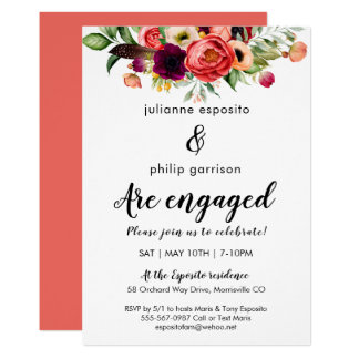 Romantic Garden Floral Engagement Party Invitation