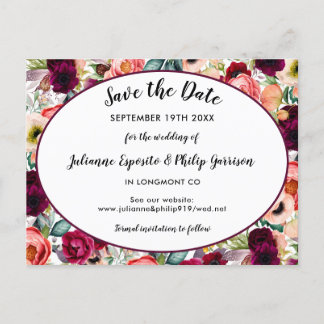 Romantic Garden Floral Wedding Save the Date