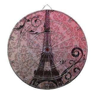 romantischer Herbstrosadamast Paris-Eiffelturm Dartscheibe