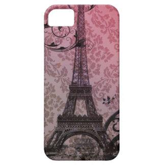 romantischer Herbstrosadamast Paris-Eiffelturm iPhone 5 Etui