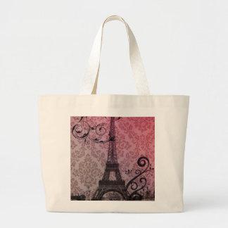romantischer Herbstrosadamast Paris-Eiffelturm Jumbo Stoffbeutel