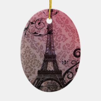 romantischer Herbstrosadamast Paris-Eiffelturm Keramik Ornament