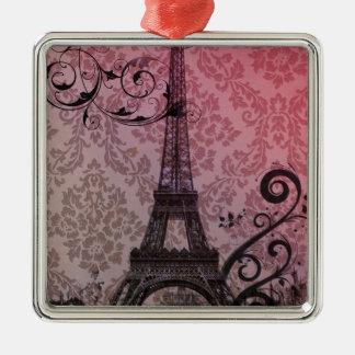romantischer Herbstrosadamast Paris-Eiffelturm Quadratisches Silberfarbenes Ornament