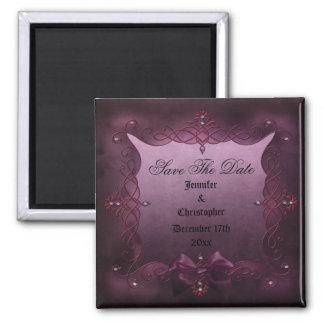 Romantischer lila gotischer Wedding Rahmen Save Quadratischer Magnet