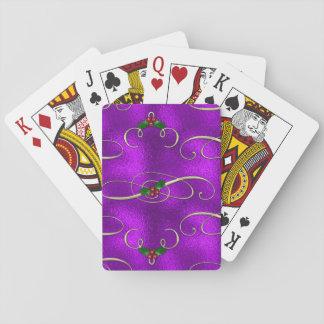 Romantischer lila WeihnachtsWirbel Spielkarten
