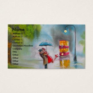 Romantischer Paarregenschirm der regnerischer Visitenkarte