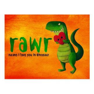 Romantischer RAWR T-rex Dinosaurier Postkarte