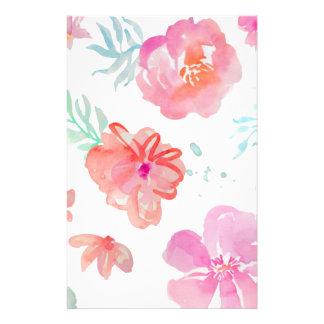 Romantischer rosa Mit Blumenwatercolor cool u. Briefpapier