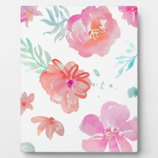 Romantischer rosa Mit Blumenwatercolor cool u. Fotoplatte