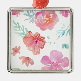 Romantischer rosa Mit Blumenwatercolor cool u. Silbernes Ornament