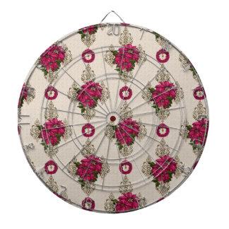 Romantischer rosa Poinsettia-u. Kranz-Damast Dartscheibe