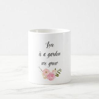Romantischer rosa Watercolor-Garten-BlumenLiebe Kaffeetasse