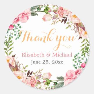 Romantischer schicker Blumendekor danken Ihnen Runder Aufkleber