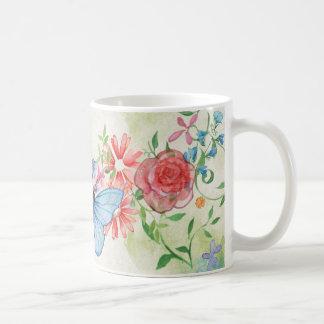 Romantischer Schmetterling und Rosen-Tasse Kaffeetasse