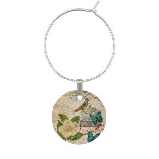 romantischer viktorianischer Blumenfrühlingsvogel Glasmarker