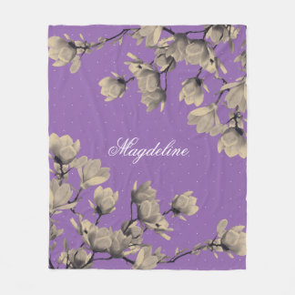 Romantischer Vintager Magnolien-Lavendel Fleecedecke