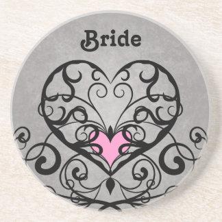 Romantischer wedding Wirbel und Herzen Sandstein Untersetzer
