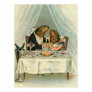 """""""Romantisches Abendessen für Frösche"""" Vintage Postkarte"""