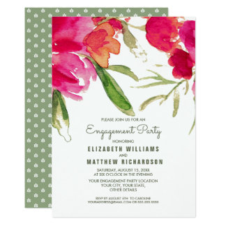Romantisches Blumenwatercolor-Verlobungs-Party Karte