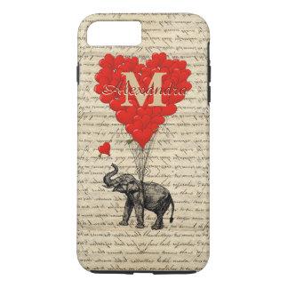 Romantisches Elefant- und Liebeherzmonogramm iPhone 8 Plus/7 Plus Hülle