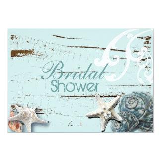 Romantisches elegantes Seashell-Strand-Brautparty 12,7 X 17,8 Cm Einladungskarte