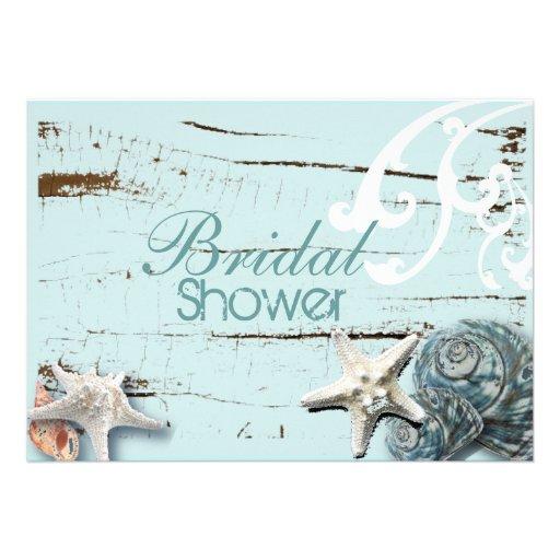 Romantisches elegantes Seashell-Strand-Brautparty Individuelle Einladung
